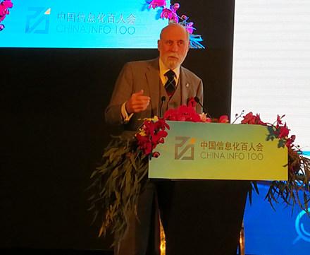 "Vint Cerf 在本次峰会发表了以""物联网""(Internet of Things)为主题的演讲"
